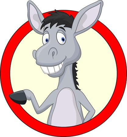wild donkey: Cute donkey cartoon waving hand