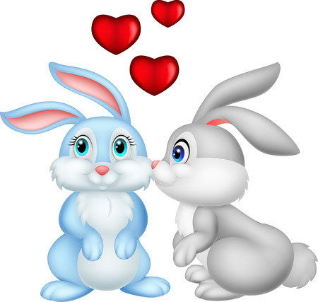 Two cute cartoon bunnies in love Vector