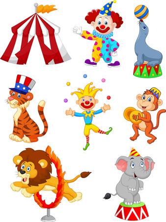 Cartoon Zestaw Śliczne Circus tematyczne ilustracji