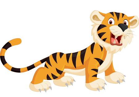 angry cat: Cute tiger cartoon roaring