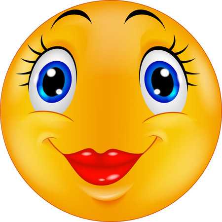happy faces: Cute female emoticon smiley cartoon