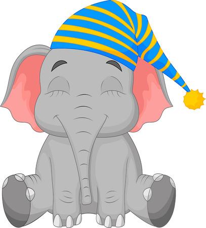 drawing an animal: Dormire elefante cartone animato in un cappello Vettoriali