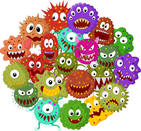 microorganisms: Cartoon bacteria collection set