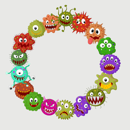 aids cell: Cartoon bacteria collection set