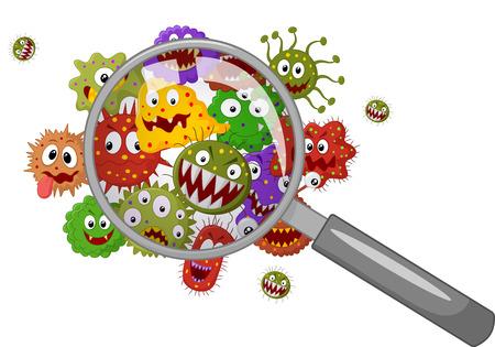vih sida: Bacterias de la historieta con una lupa Vectores