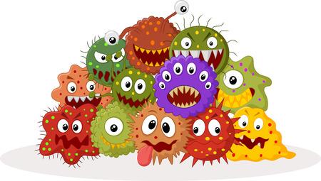 漫画の細菌のコロニー  イラスト・ベクター素材