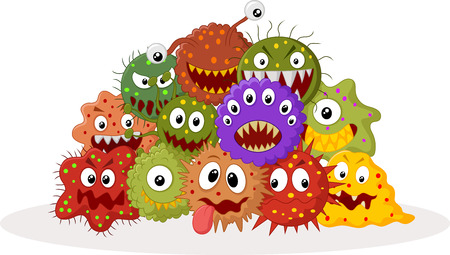 virus bacteria: Cartoon bacteria colony Illustration