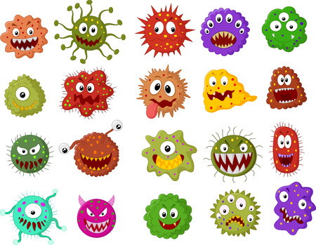 bacterias: Cartoon conjunto de recopilaci�n bacterias