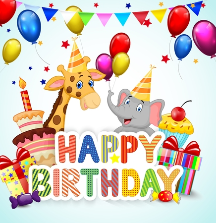 Birthday background with cartoon elephant and giraffe