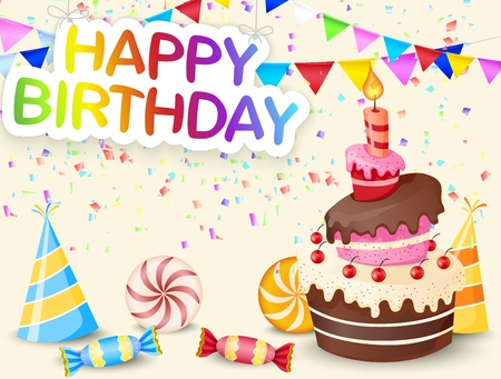 cone cake cone: Birthday background with birthday cake cartoon Illustration