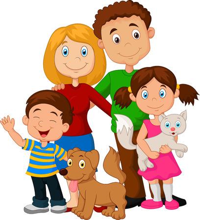 幸せな家族の漫画  イラスト・ベクター素材