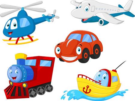 Coleção transporte dos desenhos animados