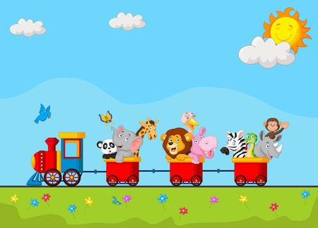 locomotora: Fondo del cumpleaños con la historieta animal feliz en el tren Vectores
