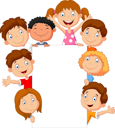 presentation people: Cartoon kids with blank sign Illustration