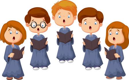 漫画の子供たちの合唱団  イラスト・ベクター素材