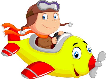 toy plane: Little Boy cartoon Operating a Plane
