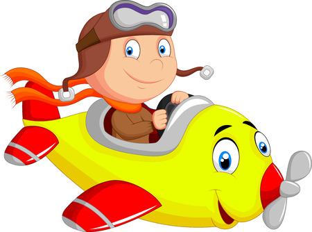 plane cartoon: Little Boy cartoon Operating a Plane