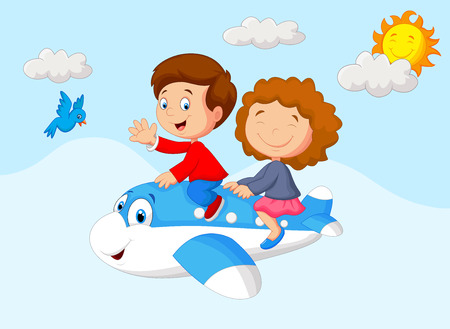 Cartoon Kids Going on a Joyride in a Mini Plane