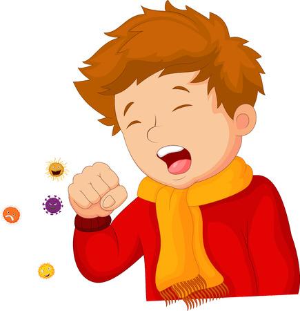 enfant malade: Cartoon toux peu garçon