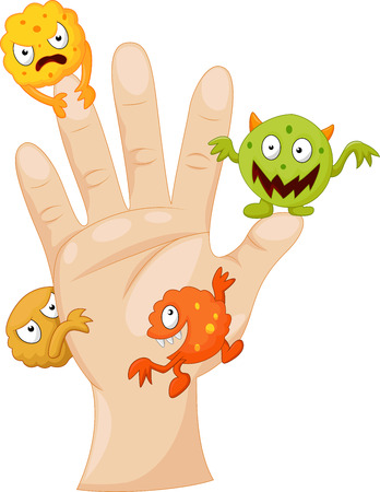 manos sucias: Palma sucia con los gérmenes de dibujos animados