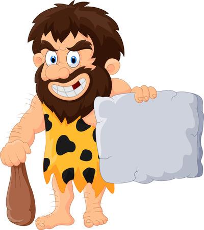 caveman cartoon: Caveman cartoon with stone tablet