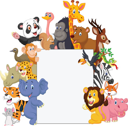 Wild animal cartoon with blank sign  イラスト・ベクター素材