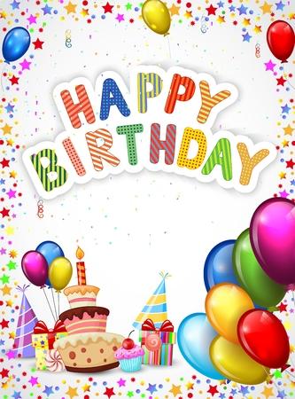 De dibujos animados de cumpleaños con dibujos animados coloridos globos y pastel de cumpleaños Foto de archivo - 35862969