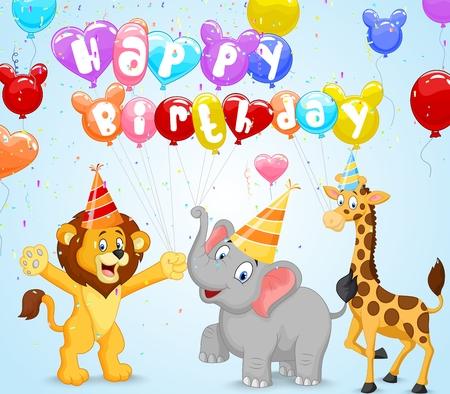 Fondo de cumpleaños con león de la historieta, jirafa y el elefante Foto de archivo - 35858766