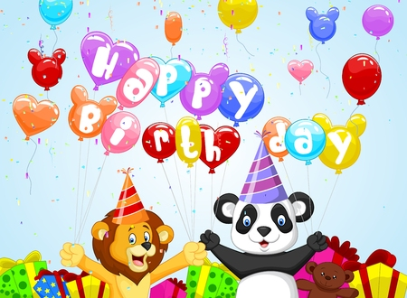 Birthday background with cartoon lion and panda Vector
