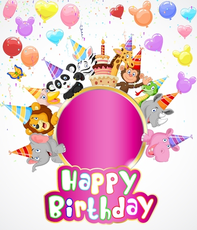 Fondo de cumpleaños con los animales felices de dibujos animados Foto de archivo - 35858771