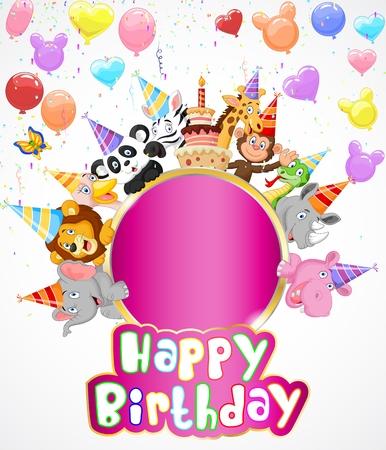 persona alegre: Fondo de cumpleaños con los animales felices de dibujos animados Vectores