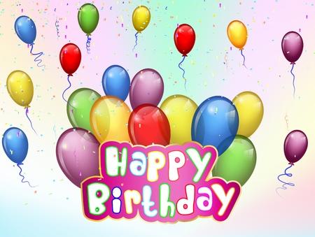 Fondo del cumpleaños con la historieta colorido globo