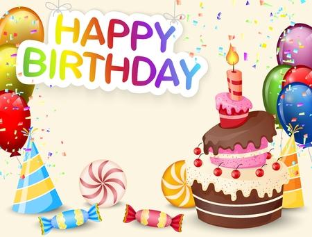 persona alegre: Fondo de cumpleaños con pastel de cumpleaños de la historieta