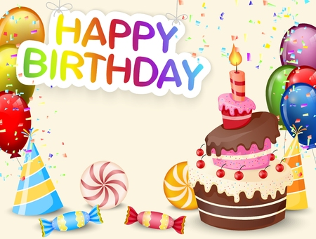 compleanno: Sfondo di compleanno con torta di compleanno del fumetto Vettoriali