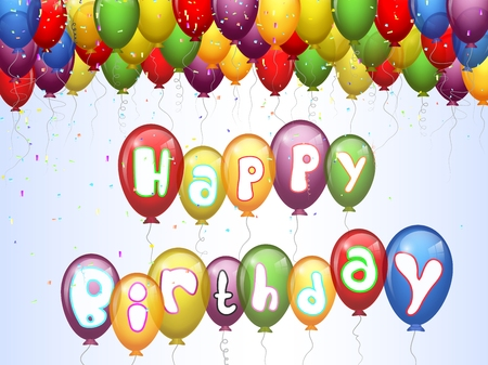 funny birthday: Birthday background with colorful balloon cartoon