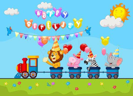 birthday train: Birthday cartoon with happy animal on train Illustration
