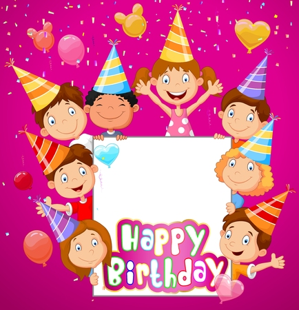 balloons celebration: Birthday background with happy children cartoon