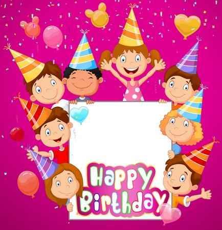 felicitaciones cumplea�os: Fondo de cumplea�os con ni�os felices de dibujos animados Vectores