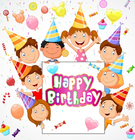 girl happy: Birthday background with happy children cartoon
