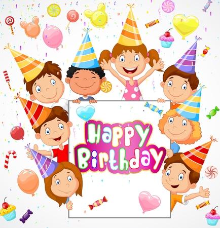 persona alegre: Fondo de cumpleaños con niños felices de dibujos animados Vectores