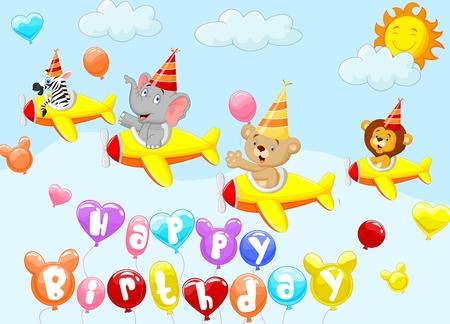 cartoon present: Birthday background with animal cartoon on plane Illustration