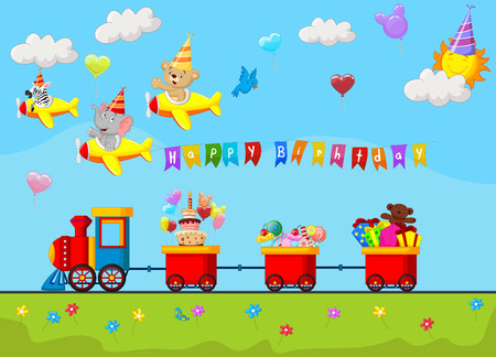 birthday party: Birthday background cartoon Illustration
