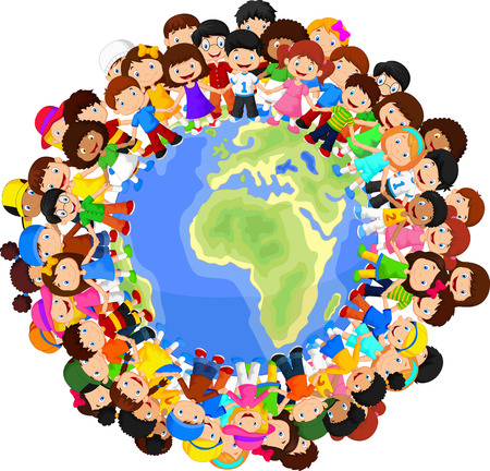 Multicultural children cartoon on planet earth