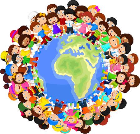 niños: Niños Multicultural de dibujos animados en el planeta tierra