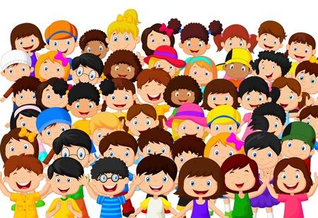 Crowd of children cartoon