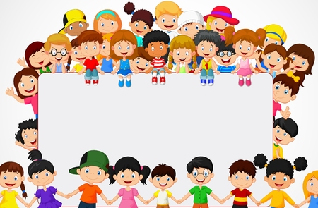 enfant qui sourit: Foule enfants bande dessin�e avec signe blanc