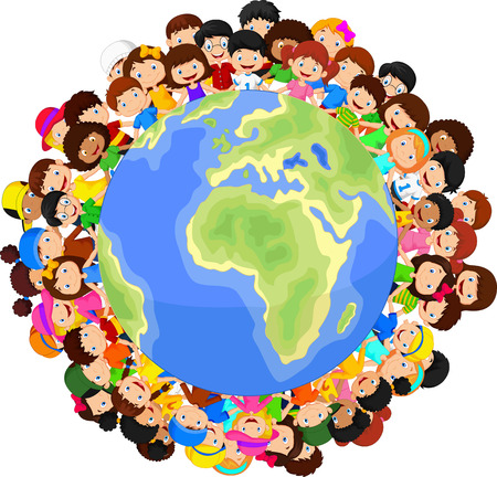 world group: Multicultural children cartoon on planet earth