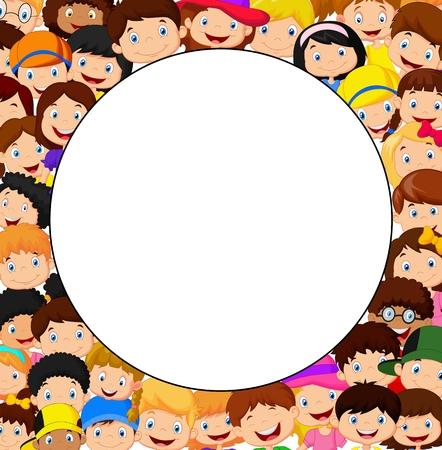 Folla di bambini cartoon con lo spazio vuoto