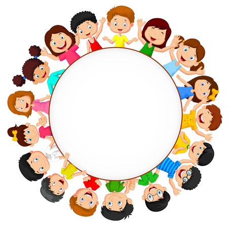 Crowd of children cartoon with blank space