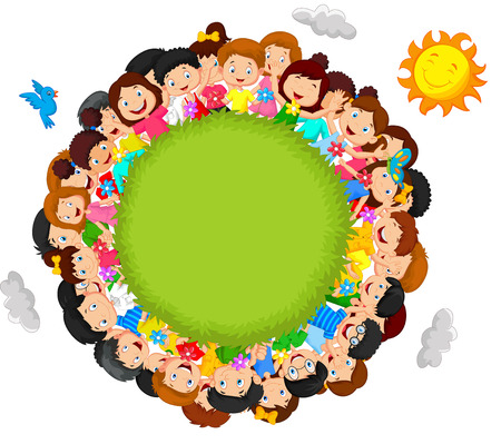 multicultural group: Crowd of children cartoon